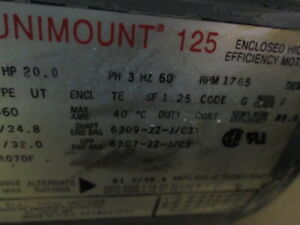 Us Electric A983a 20hp Ac Motor 1765 Rpm 256tc Frame Reconditioned