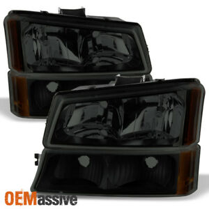Fits 2003 2006 Chevy Silverado Avalanche Black Smoked Headlights bumper Lights