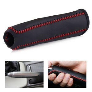Black Leather Hand Brake Red Stitching Cover Sleeve For Honda Civic 2004 2011
