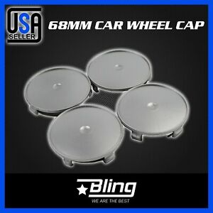 Set 4 Car Vehicle Wheel Center Covers Hub Caps 3inch 76mm Diameter Chrome Silver