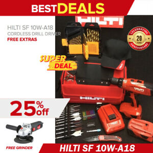 Hilti Sf 10w a18 Cordless Drill Driver 2 Batteries Free Bits More Fast Ship