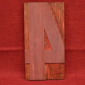 12 By 6 1 8 Number 4 Four Large Wooden Letterpress Wood Type Printers Block