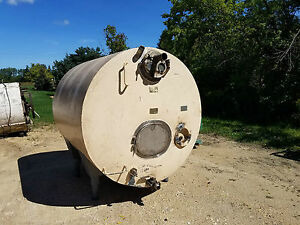1000 Gallon Cherry Burrell Jacketed insulated Horizontal 316 Stainless Tank Legs