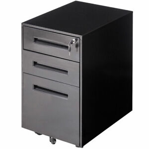 Rolling A4 File Cabinet Sliding Drawer Metal Office Organizer Storage Black