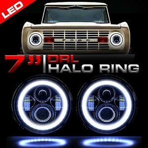 Pair 7 Inch For Ford Bronco 69 1978 Hummer Led Sealed Beam Daymaker Headlights