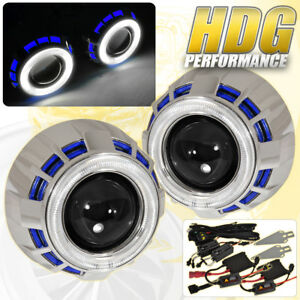 2 5 Bi Xenon Headlights Retrofit Projector Dual Ccfl Halo Ring Universal