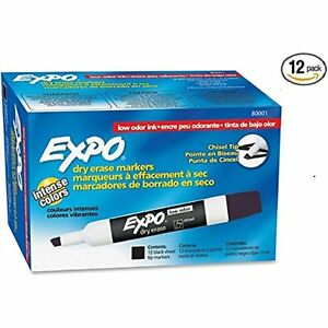 Expo Low Odor Chisel Tip Dry Erase Markers Black 12 Pack Office School Supplies
