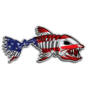 Usa Bone Fish Sticker American Flag Fishing Cup Car Window Bumper Decal Graphic