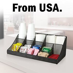 Coffee Condiment Cup Office Lid Dispenser Holder Caddy Rack Office Tea Bag Sugar
