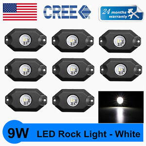 8x 2 9w Cree Led Rock Light Jeep Off Road Truck Rig Trail Light Boat Suv White