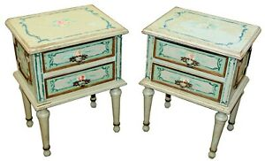 Antique Hand Painted Shabby Chic Two Drawer End Tables Set Of Two