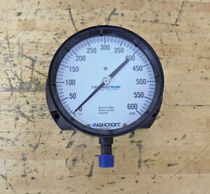 Ashcroft Pressure Gauge 0 600 Psi 6 Dial Aluminum Case Bronze Tube Brass Fit
