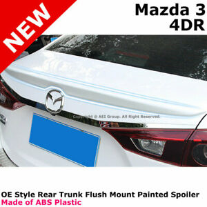 For 14 16 Mazda 3 Mazda3 Color Matched Painted Rear Trunk Spoiler Jet Black 41w