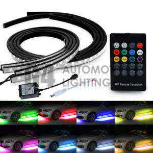 4x 8 Color Rgb 5050 Strips Led Under Car Glow Underbody System Neon Light Kit