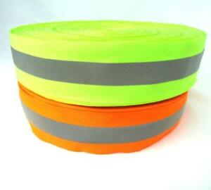 50m Silver Reflective Tape Strip Sew on Lime Orange Fabric Safty Vest width 2