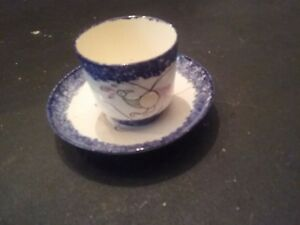 Spatter Ware Cup And Saucer Handle Less Cup Perfect Condition
