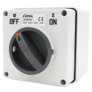 Surface Mounting Switch On off 56sw332 3 Pin 32a With Enlosure Ip66 500vac 50hz