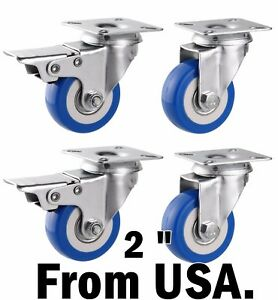 Swivel Caster Wheels Rubber Base Top Plate Brakes Wheel Cart Furniture Dolly Usa