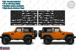 2 Guns American Flag Window Door Fender Vinyl Decals Old Glory Usa Fits Jeep