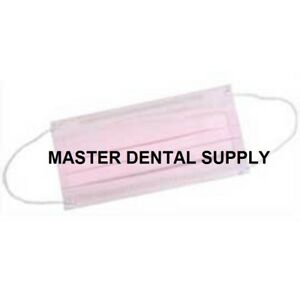 500 Dental Surgical Medical Earloop 3 Ply Disposable Procedural Face Mask Pink