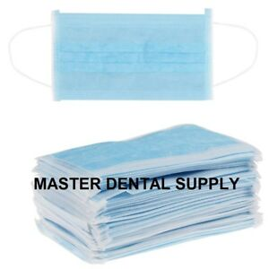 500 Dental Surgical Medical Earloop 3 Ply Disposable Procedural Face Mask Blue