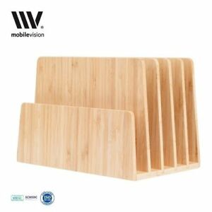 Bamboo Desktop File Folder Organizer Paper Tray Slots Holder Home Rubber Place