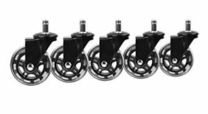 Floor Protecting Rubber Office Chair Caster Wheels Set Of 5 Black