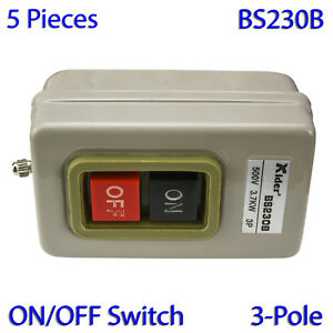 5 Pcs On off Metal Control Box Bs230b Pushbutton Switch 500v 3 7kw 3 pole
