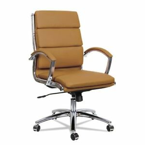 Camel Leather Conference Room Table Chairs W Padded Arms Chrome Frame