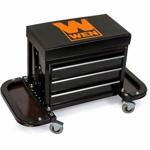 Mechanics Creeper Seat Rolling Stool Garage Shop Car Work Tool Box Chest Storage