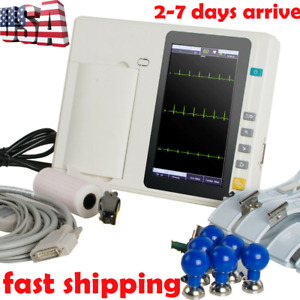 Portable 3 channel Electrocardiograph Ecg Ekg 12 Leads Touch Screen Us Fast Ce