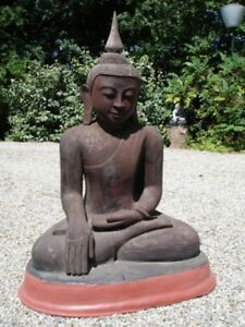 Antique Lacquer Sitting Buddha Statue From Burma Antique Buddha Statues