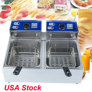 Usa Stainless Steel Dual Tank Commercial Countertop Deep Fryer Machine 110v 220v