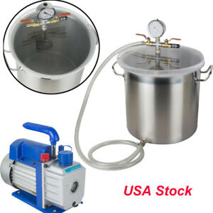 5 Gal Vacuum Chamber With 3cfm 1 3hp Single Stage Pump To Degassing Silicone Kit