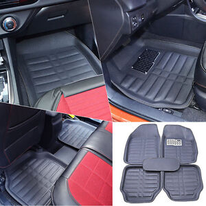Us Black 5pc Floor Mats All Weather Universal 5 Seats Car Floorliner Carpets Set
