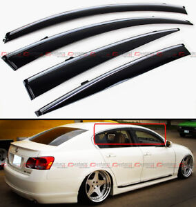 For 2006 11 Lexus Gs350 Gs450h Jdm Vip Clip On Smoke Window Visor W Chrome Trim