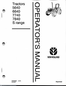 Ford 5640 6640 7740 7840 S Range Tractor Operator s Manual no Cab 42564031
