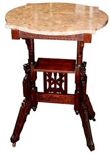 Unusual Antique American Victorian Marble Top Parlor Table