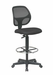 Office Star Deluxe Mesh Back Drafting Chair With 20 Diameter Adjustable Black