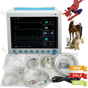 Portable Vet Veterinary Patient Monitor Vital Signs Ecg Nibp Spo2 Pr Resp Temp