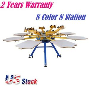 Us Stock 8 Color 8 Station Silk Screen Printing Equipment T shirt Screen Press