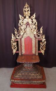 19th Century Wooden Antique Shan Throne From Burma Antique Buddha Statues