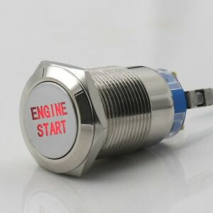 Engine Start Button Push Switch Ignition Car Automotive Red Led Metal 12v 3 4