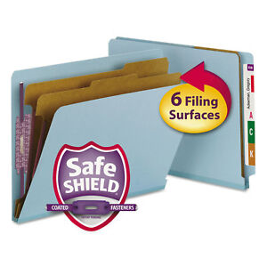 Smead Pressboard End Tab Classification Folders Letter Six section Blue 10 box