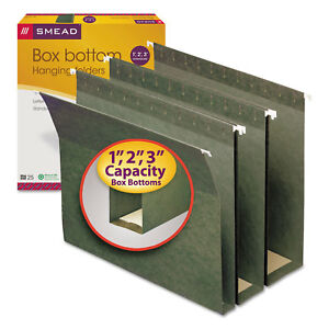 Smead Three Inch Expansion Box Bottom Hanging File Folders Letter Green 25 box