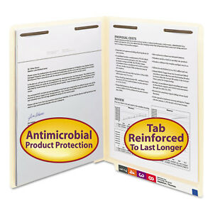 Smead Antimicrobial Two fastener End Tab Folder Letter 11 Point Manila 50 box