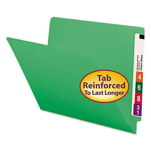 Smead Colored File Folders Straight Cut Reinforced End Tab Letter Green 100 box