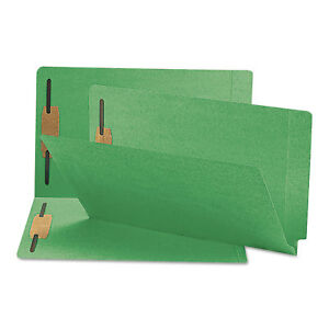 Smead Two inch Capacity Fastener Folders Straight Tab Legal Green 50 box 28140