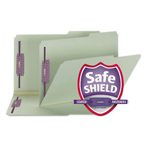 Smead Two Inch Expansion Fastener Folder 2 5 Right Tab Legal Gray Green 25 box