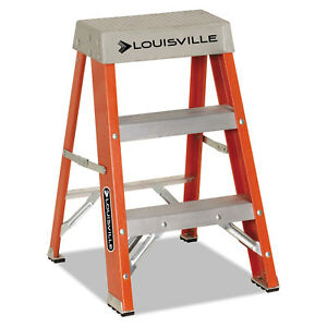 Louisville Fiberglass Heavy Duty Step Ladder 28 3 8 2 step Orange Fs1502
